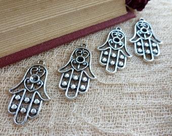 4x Mehndi Hand Charms, Antique Silver Pendants C93