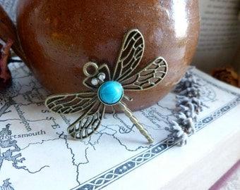 1x Vintage Dragonfly Pendant, Antique Brass Pendant Charm P61
