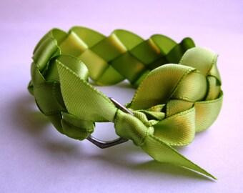 Downton Abbey Braided Lime Green Ribbon Bracelet