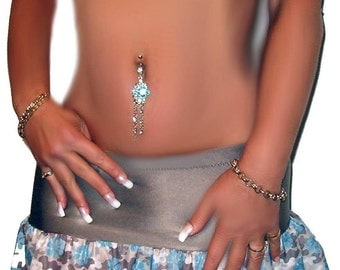 Sinful Stripper Exotic crystal Blue navel Belly Bar