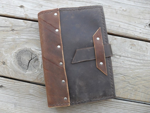 Hand stitched refillable leather journal with rivets