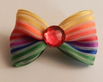 Rainbow Pride Hair Bow Clip