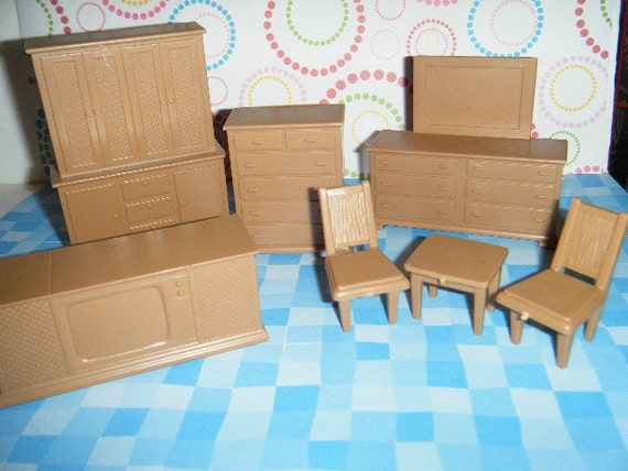 Vintage Plastic Dollhouse Furniture Tan Bedroom Set Arimore Dresser w/Mirror Table and Chairs TV and Small Dresser