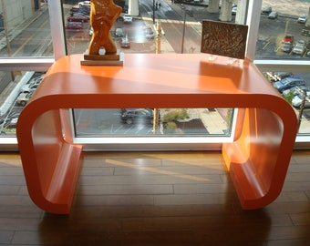 SOLD Upcycled Retro Orange Waterfall  Table