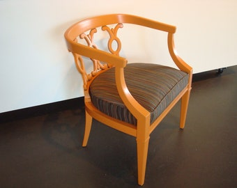 SOLD Upcycled 1970s Retro Orange  Painted  Wood Crescent Back Armchair