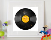 Solar System Vinyl Record Print - Home Decor Kids Poster 12x12""