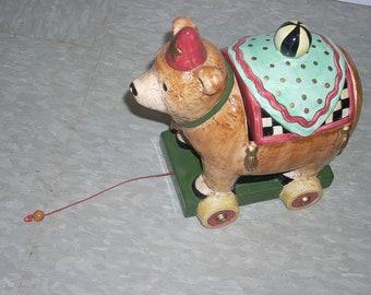 Adorable Bear Cookie Jar-Vintage Pull Toy
