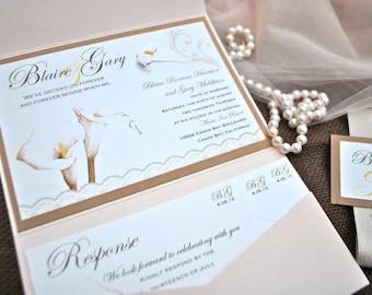 Calla Lily Pocket Wedding Invitation