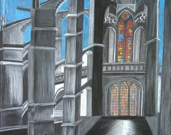 SALE Cathedral 18x24 Charcoal Chalk & Pastel Framed