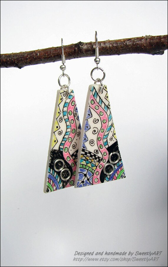 Geometric earrings for women Zentangle handpainted multicolor triangle blue black white purpure pink polymer clay art original -SweetlyART