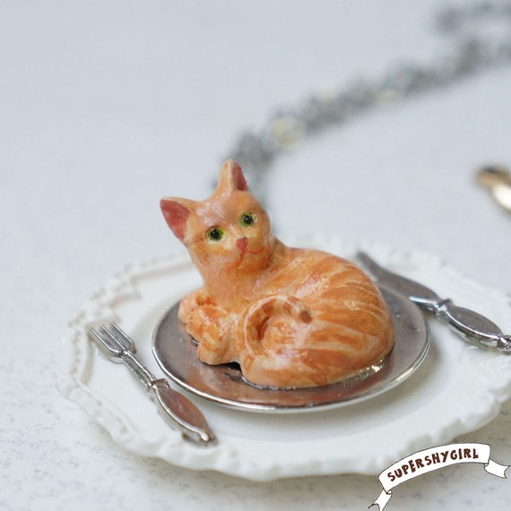 Eat Ginger Cat Necklace /cat jewelry funny/dish/fork/knife/christmas/food/christmas gift/pet/odd