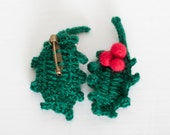 Holy tree crocheted leaf pin