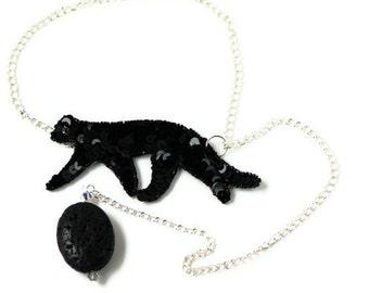 SALE!Black feline sequin choker - PENELOPE - Tribal black sequin panther shaped applique - OOAK - Eco-Friendly