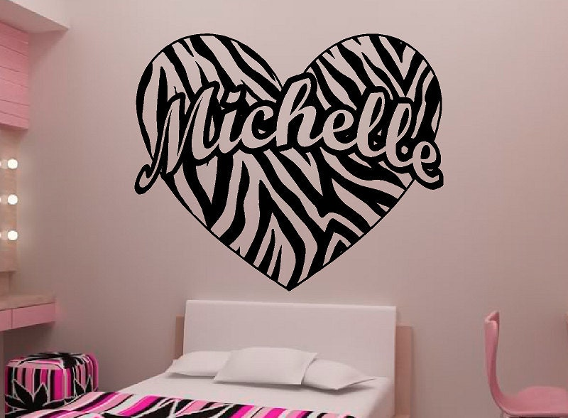 Zebra Stripes Wall Decor : Personalized zebra stripe heart vinyl wall decal sticker art
