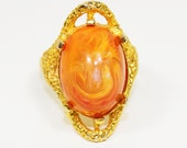 Vintage Vogue Jewelry Cocktail Ring Orange Cabochon Gold Goldtone Fashion Jewelry Costume Jewelry