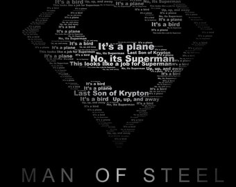 DIY Digital Download Superman Man of Steel Typography Print