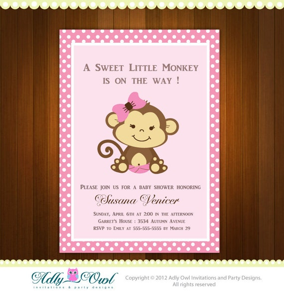 Monkey For Baby Shower Part - 45: Pink Girl Monkey Baby Shower Printable DIY Party Invitation,polka Dots -  ONLY Digital File - Ao3bs