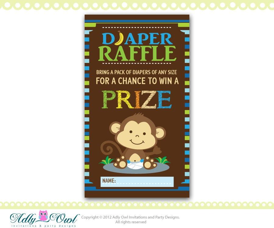 blue brown boy monkeys diaper raffle tickets printables for