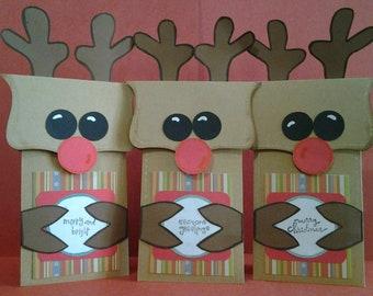Set of 3 Christmas Reindeer Gift Card Holder