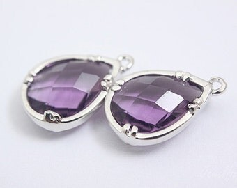 S086- 20PCS - Rhodium Plated -Amethyst -Glass