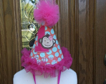 Girls First Birthday Party Hat - Mod Monkey Theme Birthday Party Hat  - Free Personalization - FAST SHIPPING