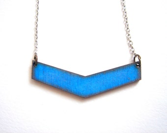 Blue Chevron Necklace, Wood Geometric Necklace,Wood  Necklace,Geometric Jewelry