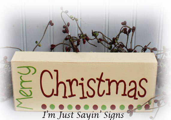 Items Similar To Merry Christmas Wood Block Sign On Etsy