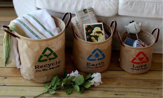3 Natural Linen Eco Friendly Storage Basket, Storage Bin, Linen Sack storage basket, Recycle Storage Basket