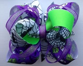 Medium Halloween Stacked Bow- Purple & Lime