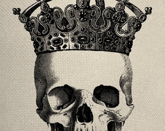 Skull With Crown Engraving  Digital Collage Graphic Fabric Transfer Tote Bag Iron On Digital Download No. 180
