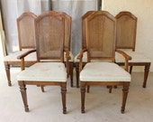Items similar to Vintage Stanley Furniture Cane Back Chair Set on Etsy