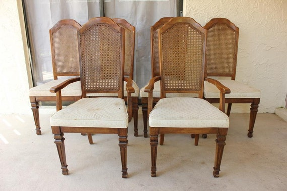 items similar to vintage stanley furniture cane back chair set on etsy - Stanley Furniture Dining Room Set