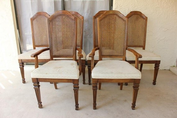 items similar to vintage stanley furniture cane back chair set on etsy. Interior Design Ideas. Home Design Ideas