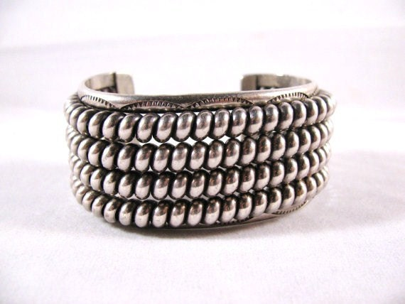 RESERVED for GRACIE Vintage TAHE SIlver Bracelet  Heavy 1970's Native American