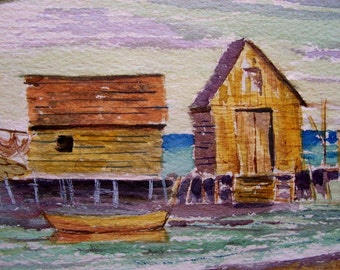 Beach Art. Original painting. Beach house decor. Coastal decor. Ocean art. Small Seascape Watercolor by Canadian Artist.  VINTAGE