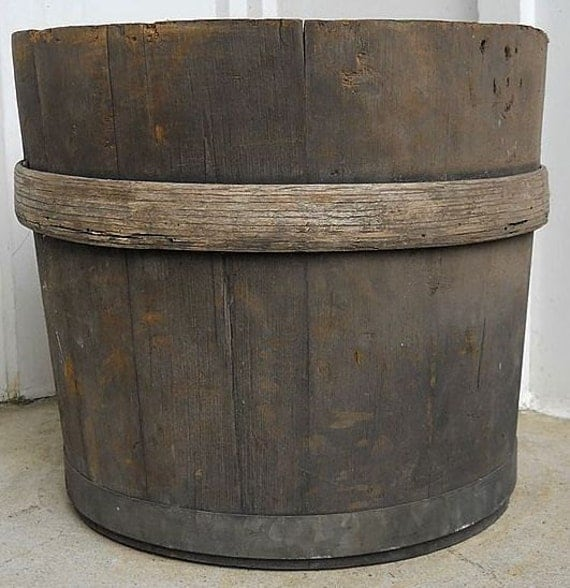 Primitive Maple Sugar Keeler Wooden White Pine Bucket With An