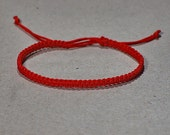 Tiny Red Kabbalah macrame bracelet - modern red bracelet