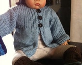 Handknit Blue Jacket for baby boy or baby girl size 3 Months