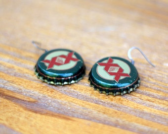 recycled bottle cap earrings xx dos equis. Black Bedroom Furniture Sets. Home Design Ideas