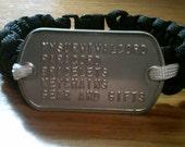 custom paracord bracelet with custom dog tag