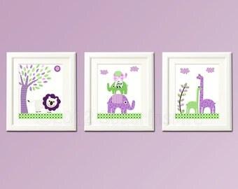 Purple and green nursery Art Print Set,safari animals, lion, elephant , giraffe, baby, 8x10, baby boy wall art , LOVE nursery, elephant