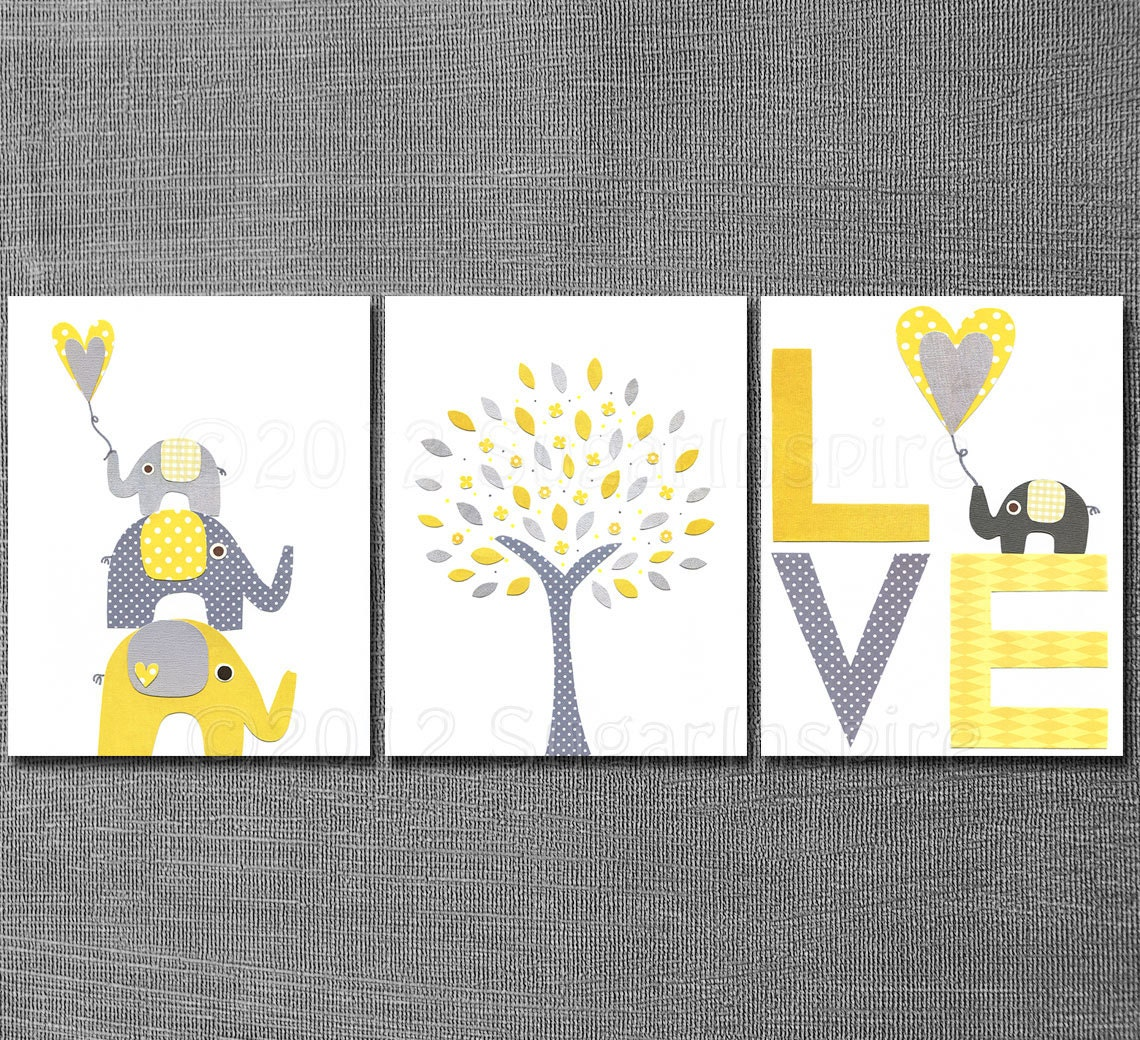 yellow and grey nursery art print set kids room decor. Black Bedroom Furniture Sets. Home Design Ideas