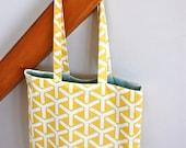 Reversible organic canvas tote - trident daffodil yellow and aqua