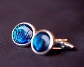 Blue paua shell cufflinks