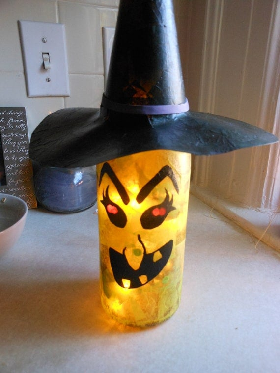 Holiday Wine Bottle Lights Witch