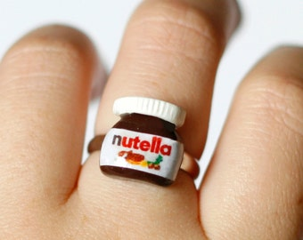Nutella ring/ Miniature food/ Polymer clay food/ Kawaii ring/ Chocolate jewelry /Adjustable ring / Food jewelry/ Nutella lover gift/ Nutella