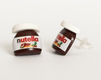 Nutella  post earrings made of Polymer Clay miniature food jewelry