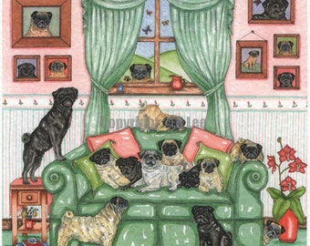 Precious Pugs Painting showing 28 pugs in total.