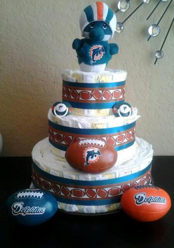 items similar to miami dolphin dolphin diaper cake on etsy. Black Bedroom Furniture Sets. Home Design Ideas