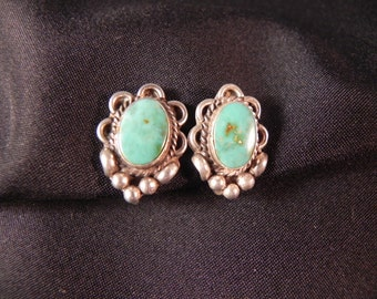 Vintage Earrings Native American Indian Screw Back Silver with Turquoise Marked RTT Navajo